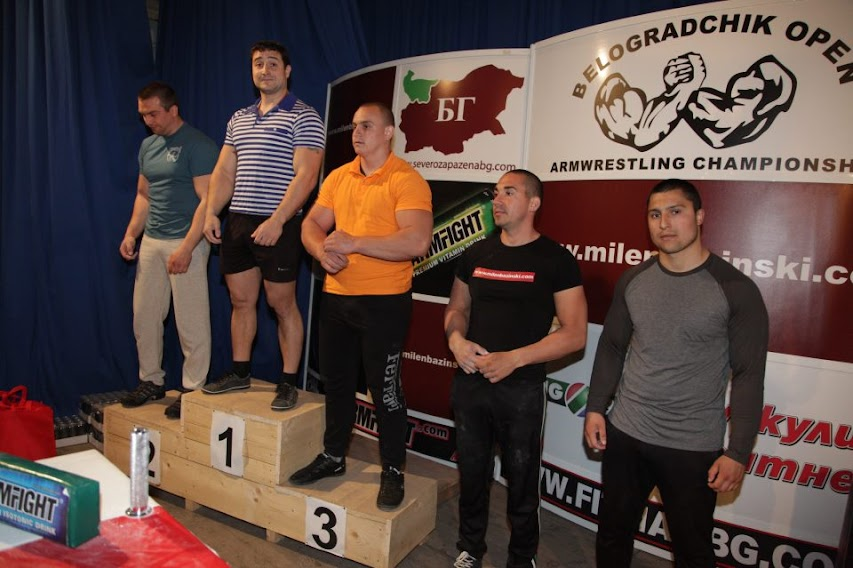 (2) Stoyan Golemanov - (1) Krasimir Kostadinov - (3) Mitko Petrov - Absolute Class Right Hand Podium BELOGRADCHIK OPEN 2013