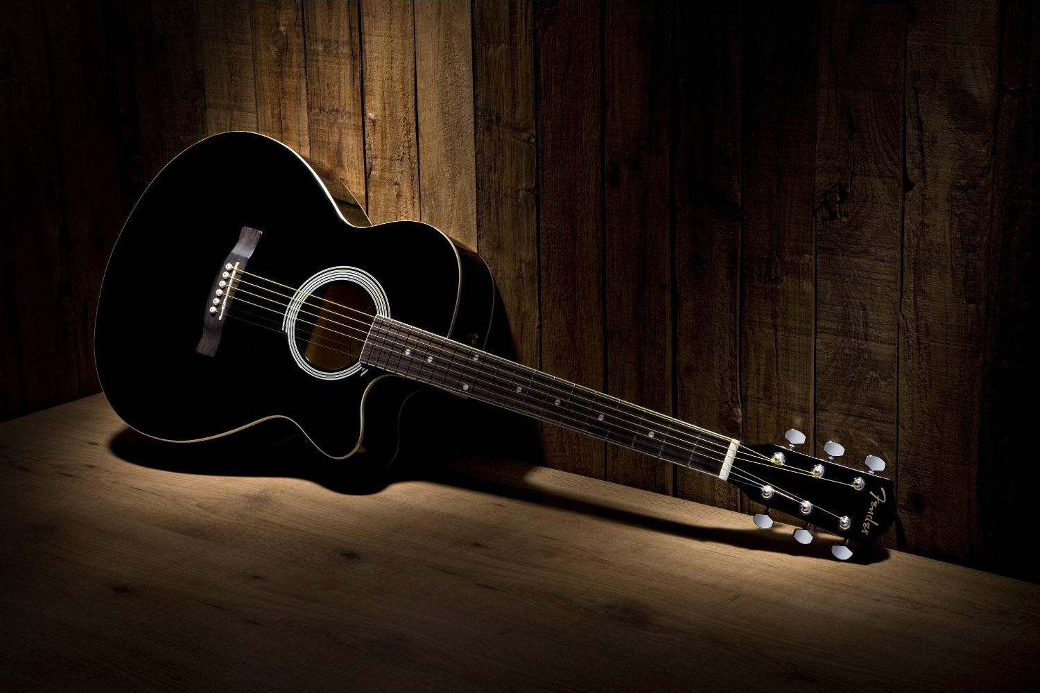 Guitar Wallpaper   Black and White Fender FA 130 Acoustic Guitar