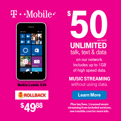 $50 will get you unlimited talk, text, and web PLUS free music streaming without using data. Get this T-Mobile plan - plus the Nokia Lumia 530 - now at Walmart #TMobileWM