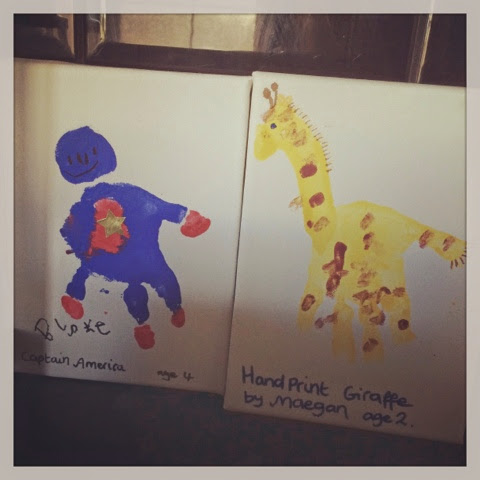 Fathers Day Gift Ideas Handprint Canvas Hand print giraffe hand print captain america