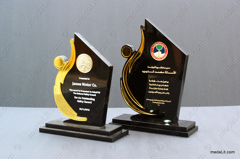 Custom-made acrylic trophies decorated with a medal by Absi co