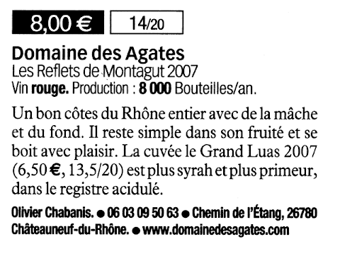 Domaine des Agates - Le guide des meilleurs vins à petits prix 2010