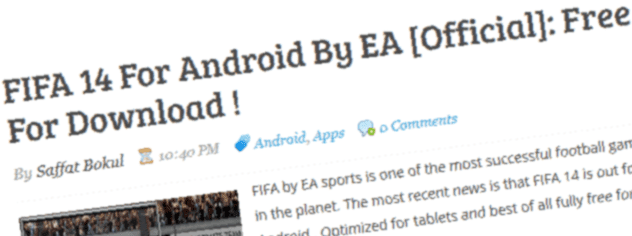 FIFA 14 For Android By EA [Official]: Free For Download