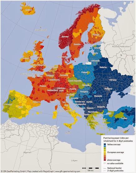 Vásárlóerő feltérképezése Európában