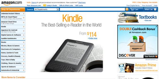 2012 Amazon homepage