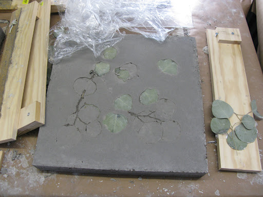 Table top slab with eucalyptus embedded