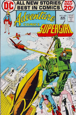 Supergirl in Adventure Comics #422, the giant robot and the Vigilante