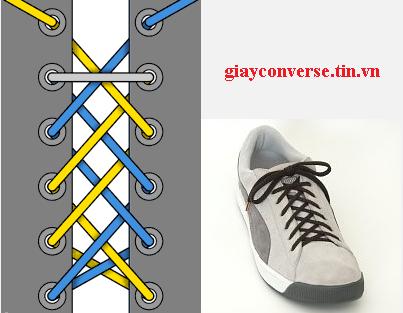 Cách buộc dây giày Converse kiểu Double Black 2