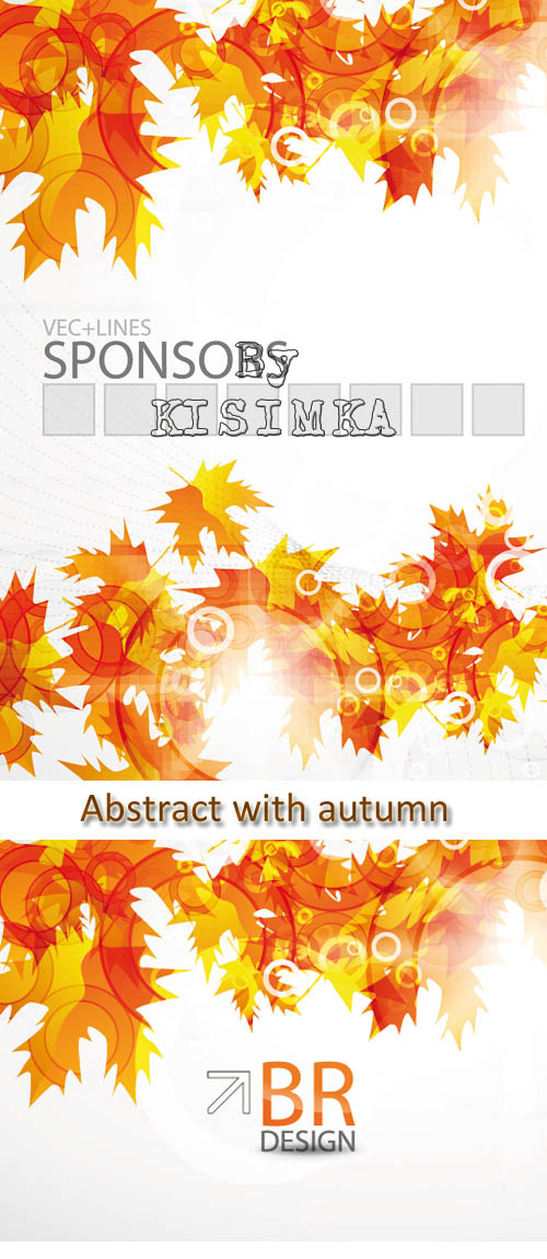 Stock: Abstract background with autumn and fallen leaves