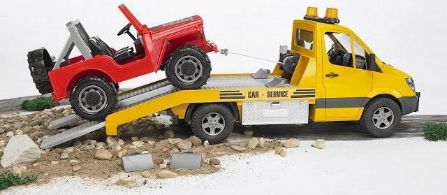 Mô hình Xe tải vận chuyển xe Jeep MB Sprinter có thể chơi trong nhà hoặc ngoài trời