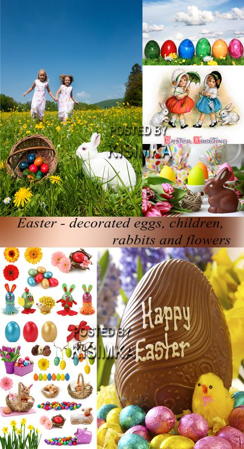 Easter - decorated eggs, children, rabbits and flowers