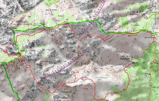 Carte de la région Popolasca/Rundinaia entre Castiglione et Vetta di Muru et parcours du raid