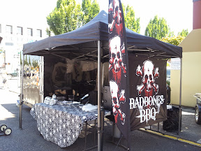 The BBQ teams usually put some love not only into what they are cooking, but even in decorating their booth that they will be camping out at as they are cooking low and slow for the 24 hours until turn-in.