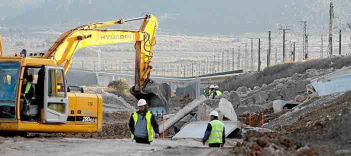 obras en el rrecorrido del AVE en Villena