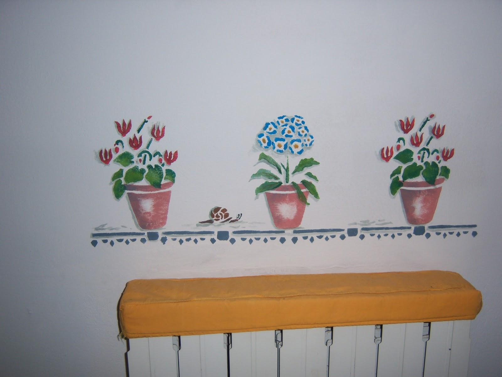 stencil muro fiori : ... ho pensato di creare un piccolo davanzale con dei vasetti di fiori