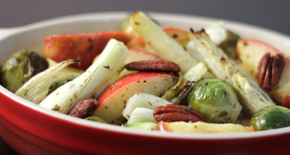 Roasted Vegetables: Fennel, Brussels Sprouts, Apple - Low Sodium Blog