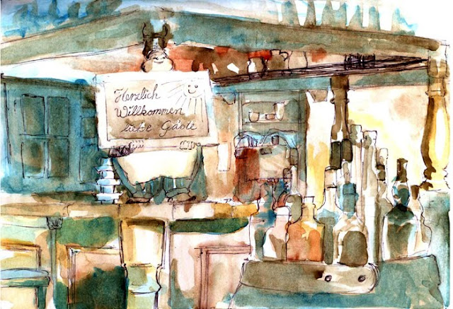 Hotel Waldesruch, Pichlers Restaurant, 2011 watercolor sketch