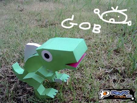 Green Dino Lizard Paper Toy