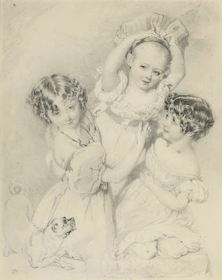 Daniel Maclise - Three children playing with a pug