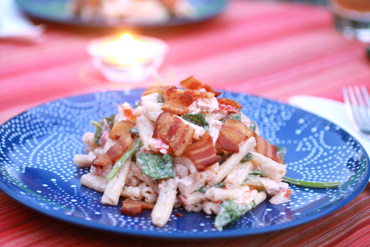 Chicken Gorgonzola Pasta Salad with Bacon | Onions and ...