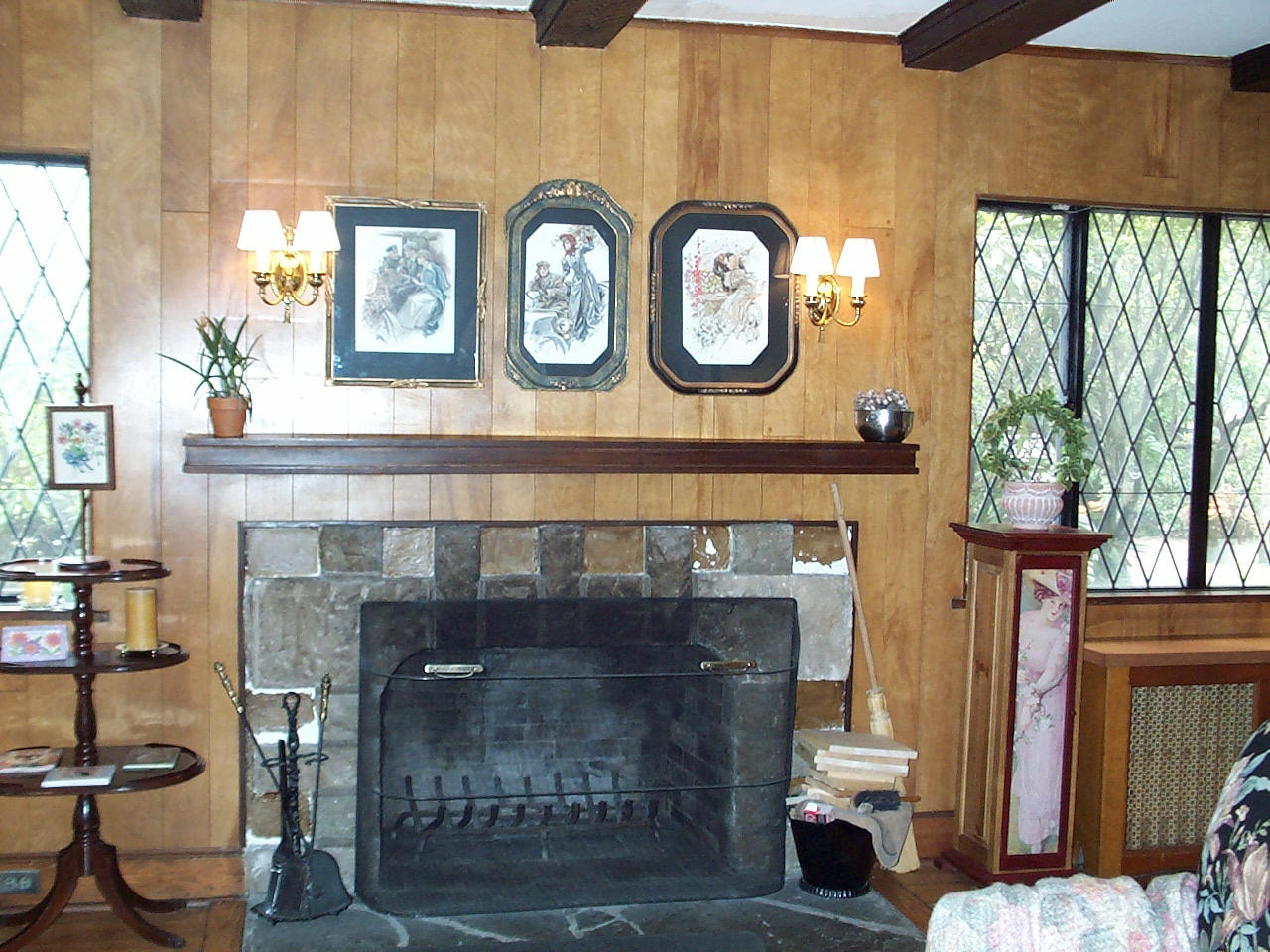 Living Room – Fireplace Mantel and Wood Radiator Covers