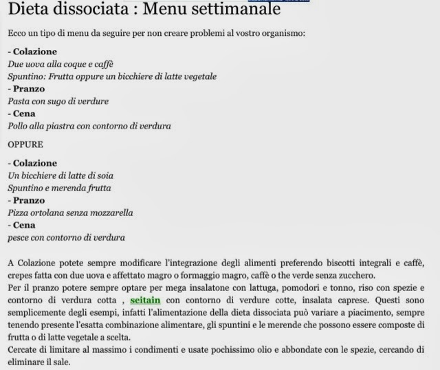 menu cena menu dieta dissociata