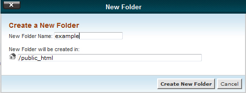 Creating new folder in File Manager