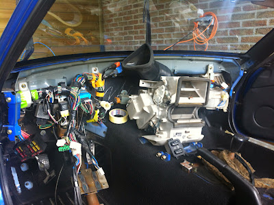 Removed dashboard for better access to wiring loom