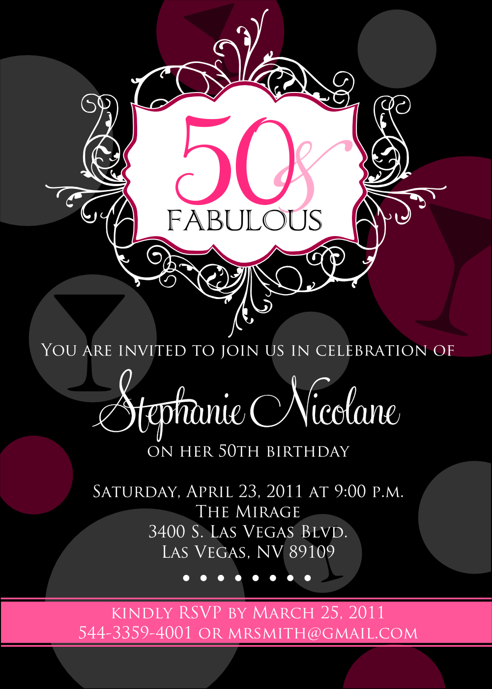 50th birthday fabulous party invitations madonna invitation sarah templates elegant crazy