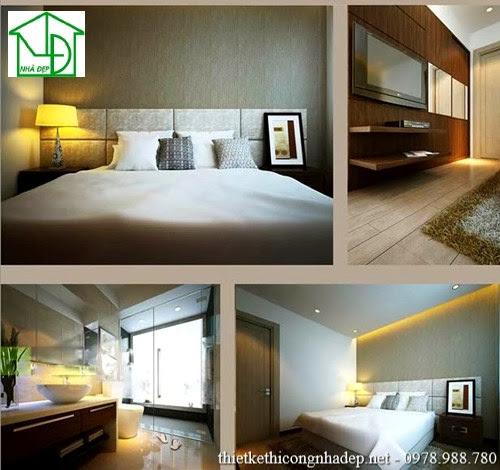 Nội thất phòng ngủ số 2 với kệ tivi và phòng tắm hiện đại
