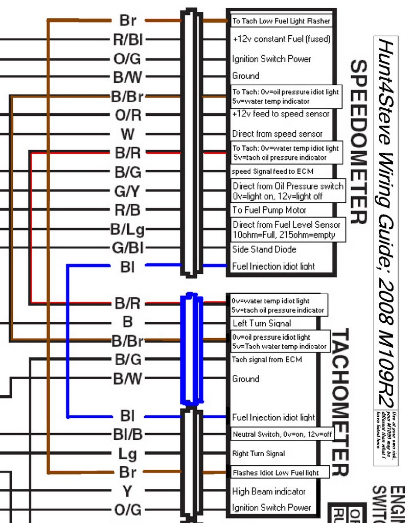 Tach_Speedo_Wiring_Stock_Config m109r2 hunt4steve Simple Motorcycle Wiring Diagram at gsmx.co