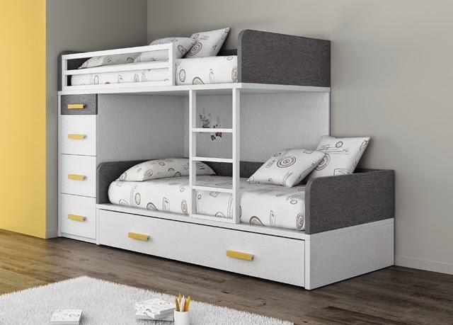 Tipos de camas para dormitorios juveniles for Habitaciones juveniles 3 camas
