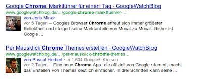 Urheberinformationen in Suchergebnissen