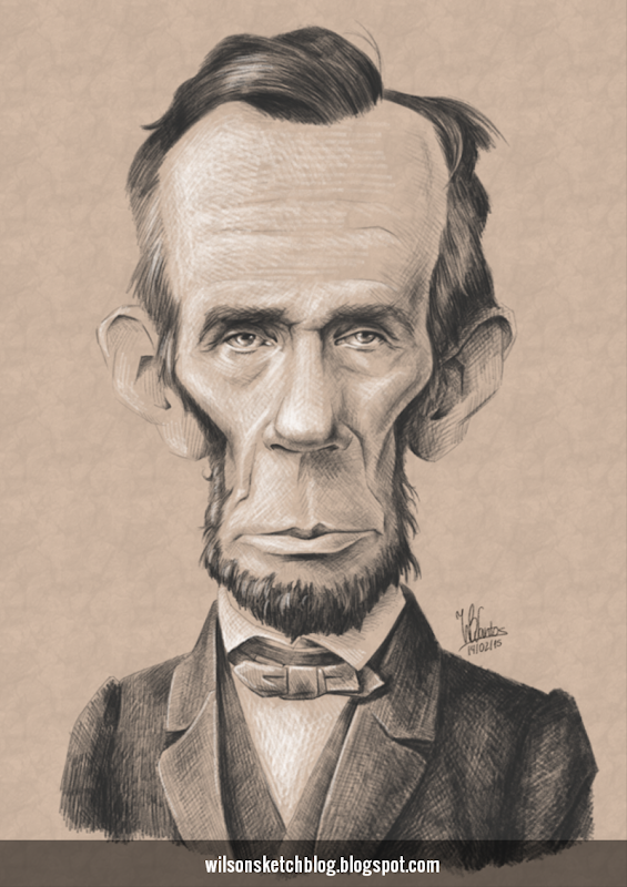Caricature of Abraham Lincoln.