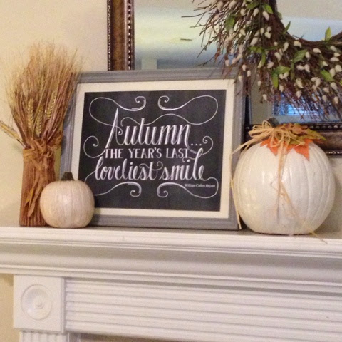 autumn decorated mantel