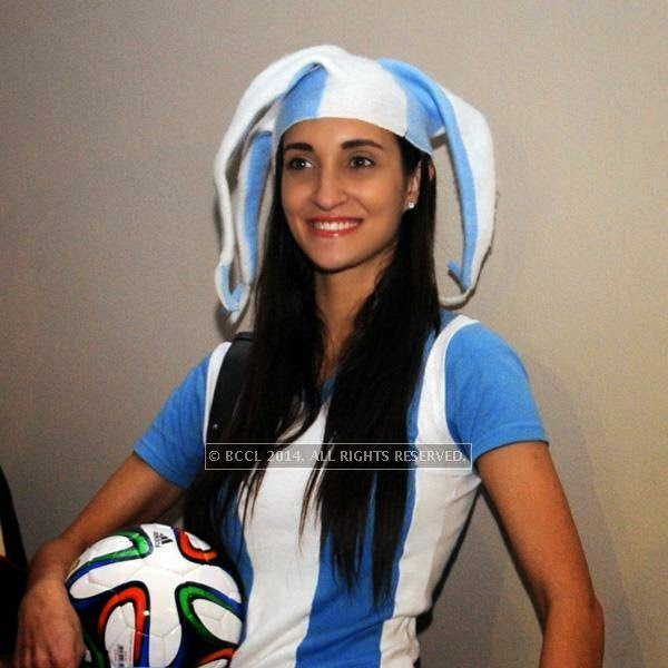 Marcela during the 2014 FIFA World Cup final screening, held at Germany embassy, in New Delhi, on July 13, 2014.