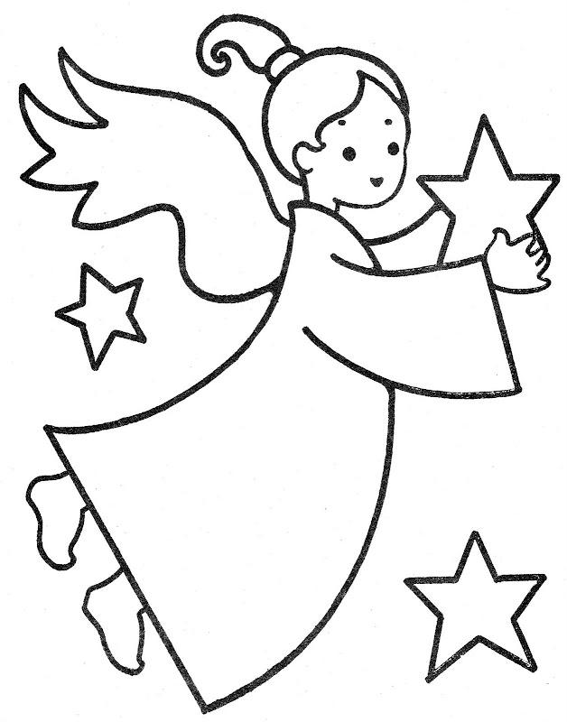 Angel con estrella para colorear