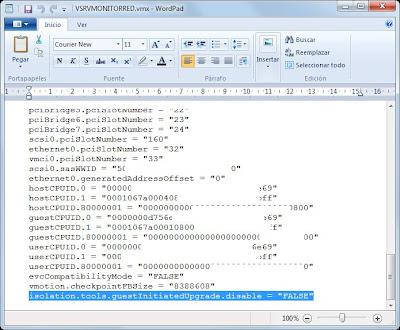Editar parámetros de configuración de fichero vmx de máquina virtual VMware ESX