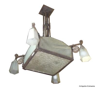 suspension lustre plafonnier art d co fer forg verre opaque ebay. Black Bedroom Furniture Sets. Home Design Ideas