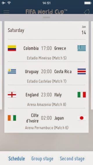 2014 브라질 월드컵 경기 일정을 보여주는 추천 앱 사용방법