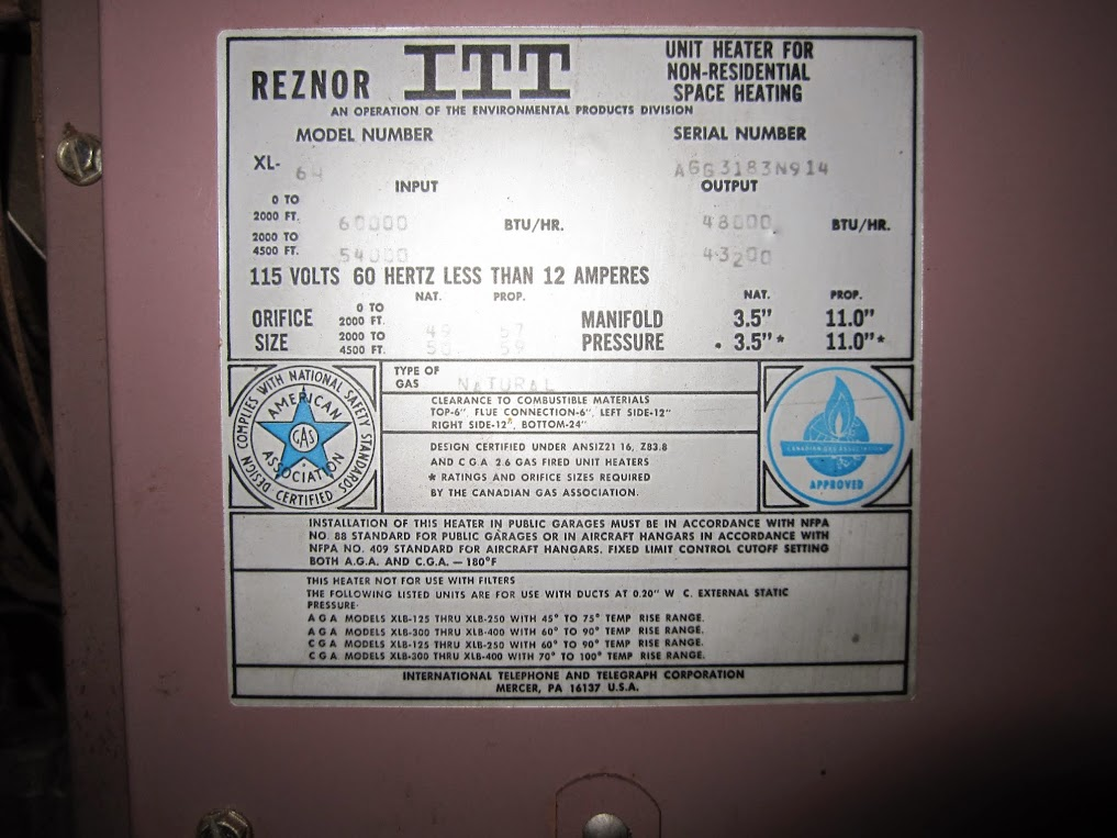 Help with Reznor gas heater - The Garage Journal Board