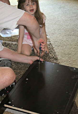 Bubbles & Daddy Assembling the Sauder Dresser