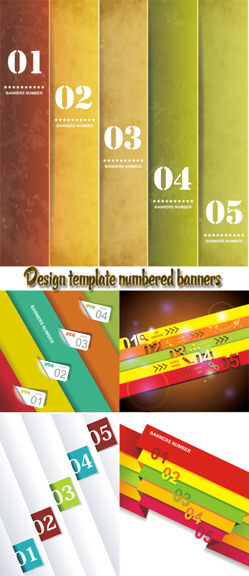 Stock: Design template numbered banners