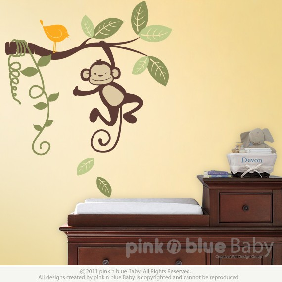 Elegant Hanging Monkey Kids Vinyl Wall Sticker Decal Set FREE BIRD