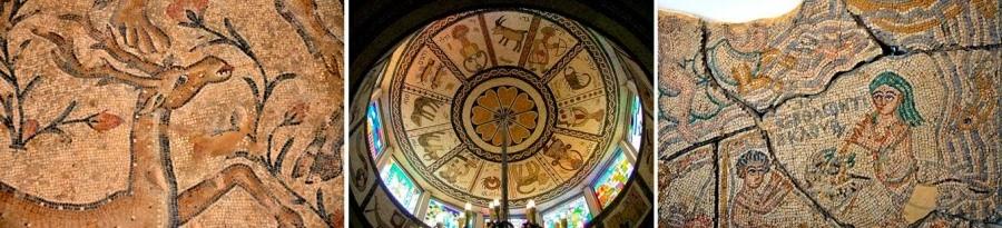 Экскурсия по Израилю.  Мозаики в монастырях, музеях, археологических парках. Слева - одна из мозаичных композиций  древнего города Ципори. В центре - купол Тунисской Синагоги в Акко. Справа - мозаика из коллекции Музея Израиля, Иерусалим. Гид в Израиле Светлана Фиалкова