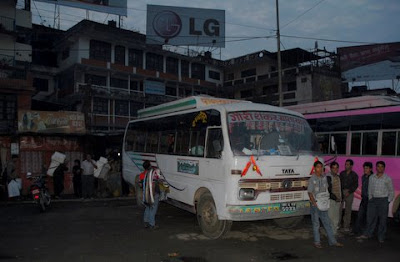 "Pre-dawn at Kathmandu's ""Old Bus Station"""