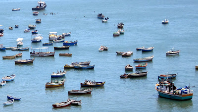 Boats in the harbor in Lima Peru