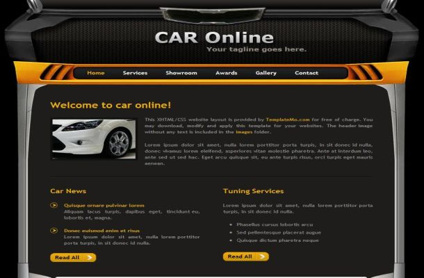 free cars black yellow css website theme template free web