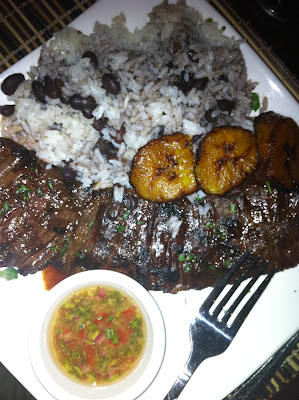 Cuban churrasco and white rice with black beans and maduros