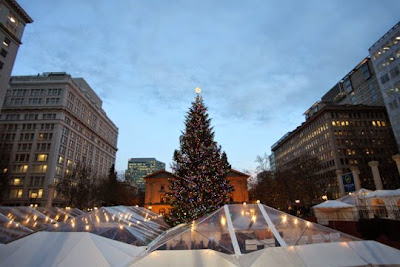 Photo of the setup of the Holiday Ale Festival in Pioneer Courthouse Square, photo by Timothy Horn